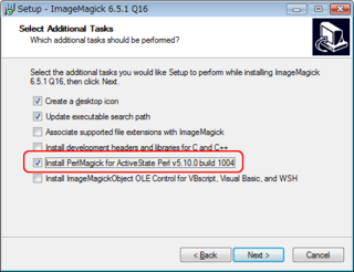 「Install PerlMagick for ActiveState Perl v5.10.0 build 1004」のチェックをオンにする