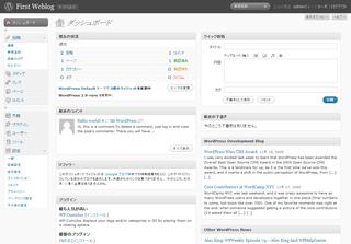 WordPress 2.9β1のダッシュボード(WordPrsss 2.8の日本語リソースを適用)