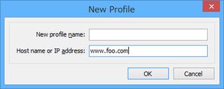 接続先のホスト名またはIPアドレスを入力