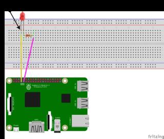 Raspberry PiでLチカを行う場合の接続図
