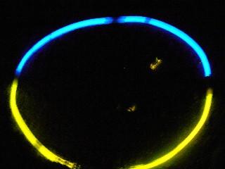 ホタル(周囲の青い輪の中にある光がホタル)